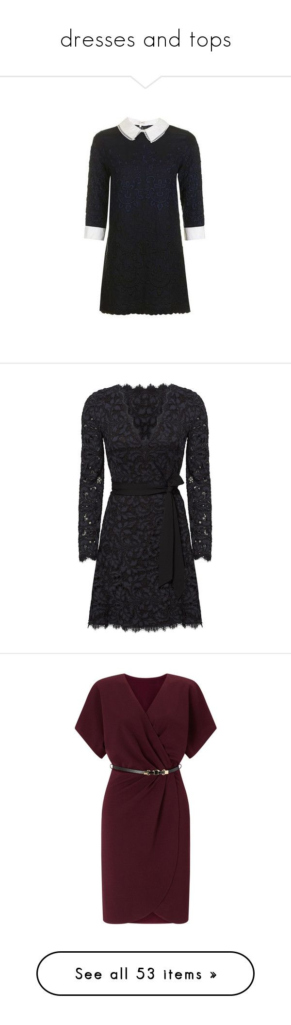 """""""dresses and tops"""" by peeweevaaz ❤ liked on Polyvore featuring dresses, navy blue, navy shift dress, rayon dress, viscose dresses, navy blue dress, petite dresses, long sleeve dress, v-neck dresses and long sleeve lace dress"""