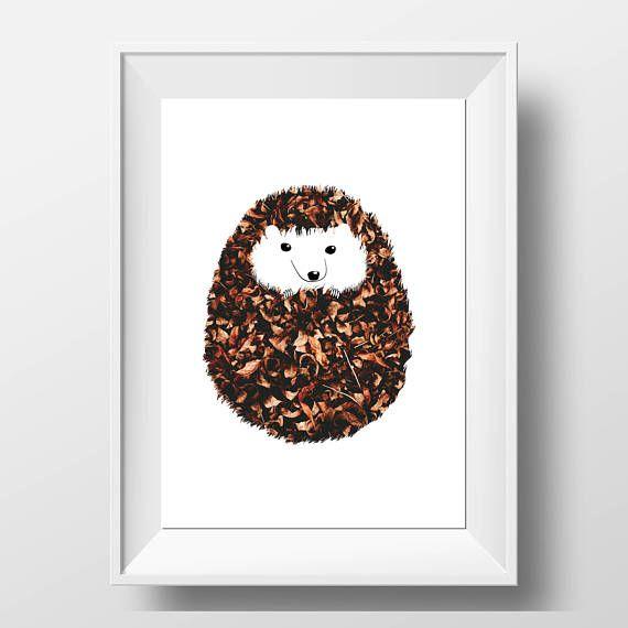 Hedgehog Print - Woodland Animal - Woodland Decor - Hedgehog Art - Hedgehog Gift - Nursery Hedgehog - Woodland Nursery - Scandi Decor