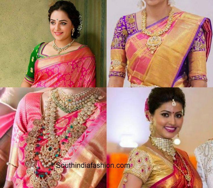 Four Blouse Matching Choices with Pink Bridal Kanjeevaram Saree