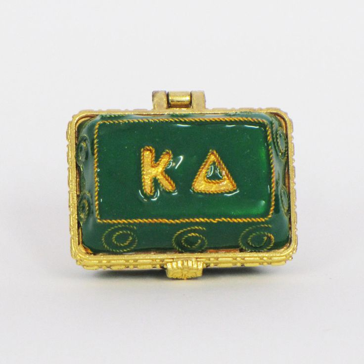 Officially licensed Kappa Delta, handcrafted, 24k gold plated cloisonne - www.KittyKeller.com