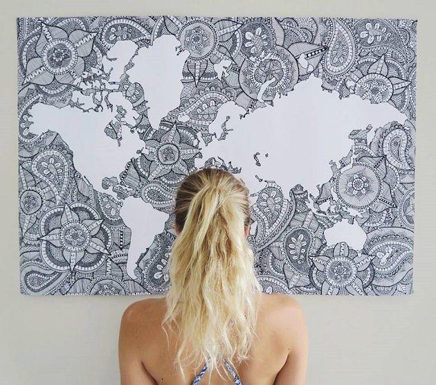Diseñan un mapa del mundo a base de mandalas