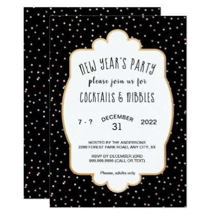 Trendy New Year's Eve party gold silver confetti Card - invitations personalize custom special event invitation idea style party card cards