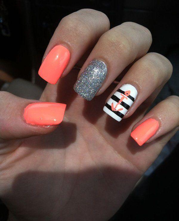 cute anchor nail design summer
