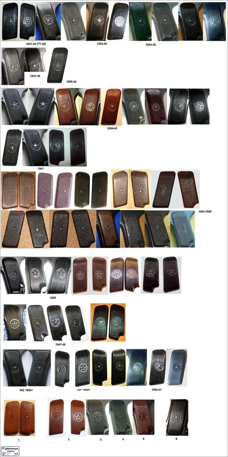 Различие щечек рукоятки пистолетов ТТ в зависимости от годов выпуска (кликните по изображению, чтобы увидеть фото полного размера)