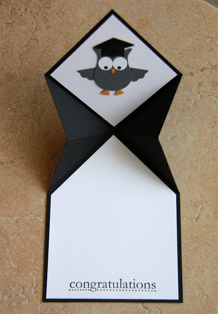 inside view of graduation card from Ladybug Designs ... fancy fold ... punched owl with mortarboard ... Stampin' Up!