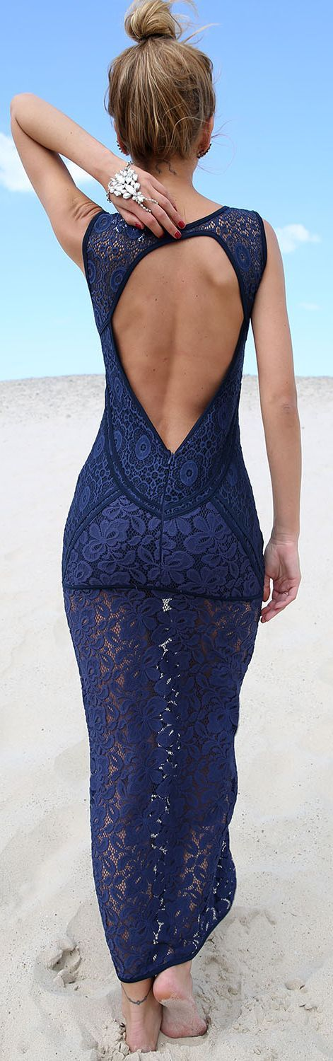 Navy Delicate Lace Open Back Maxi Dress by Sabo Skirt