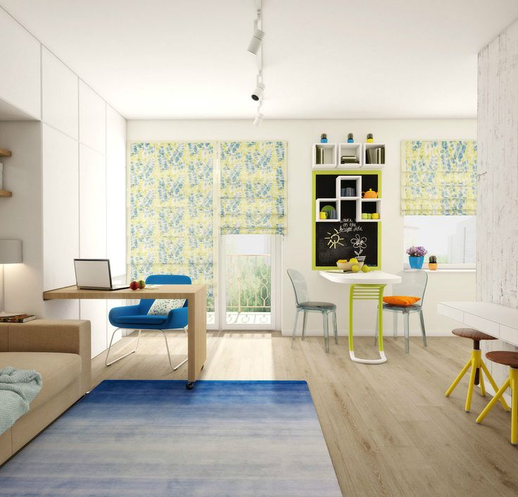 """This dinky apartment layout holds a whole host of cool features, designed by Lera Curve, who might have us consider: """"Small space is not a reason not to d"""