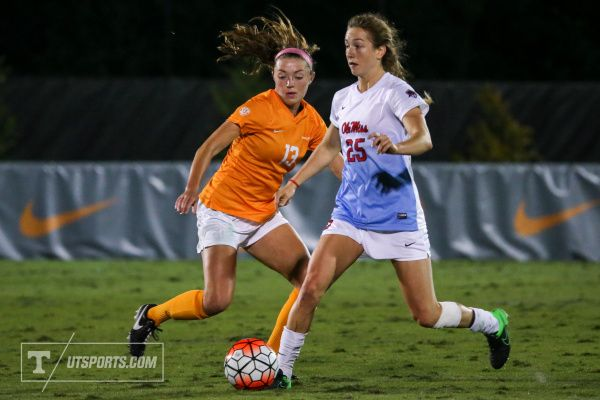 KNOXVILLE,TN - OCTOBER 23, 2015 - Defender Josie Jennings #13 of the Tennessee Volunteers during the game against the Ole Miss Rebels and the Tennessee Volunteers at Regal Stadium in Knoxville, TN. Photo By Craig Bisacre/Tennessee Athletics