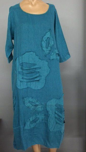 "- 3/4 sleeve dress - 100% Linen - Machine wash cool water - Wearable art - Color: turquoise. - Side Pockets Size L/XL approx bus 46"" waist 52"" Hips 60"""