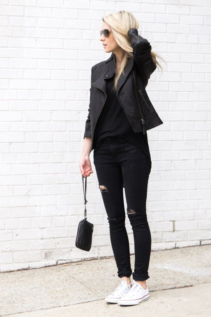 ARITZIA MACKAGE KENYA LEATHER JACKET BLACK | ZARA RIPPED SKINNY JEANS BLACK | HELMUT LANG THREADBARE TANK BLACK | ALEXANDER WANG FUMO CLUTCH WALLET BLACK | CONVERSE ALL STARS LOW TOPS WHITE | OLIVER PEOPLES BENEDICT AVIATOR SUNGLASSES GOLD