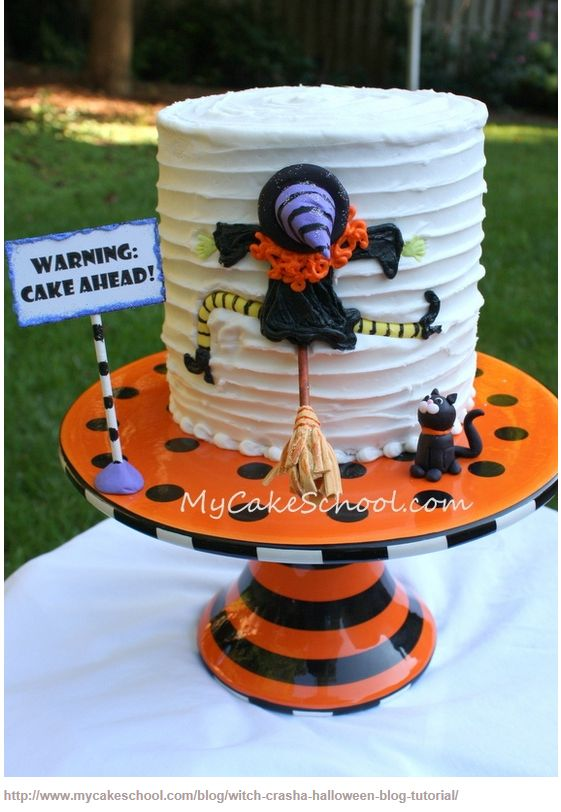 crashed witch Halloween cake