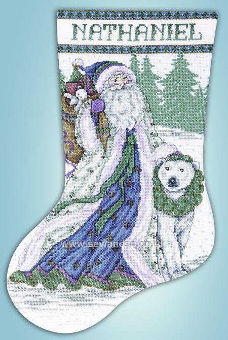 Buy Santa and Polar Bear Cross Stitch Stocking Cross Stitch Kit Online at www.sewandso.co.uk