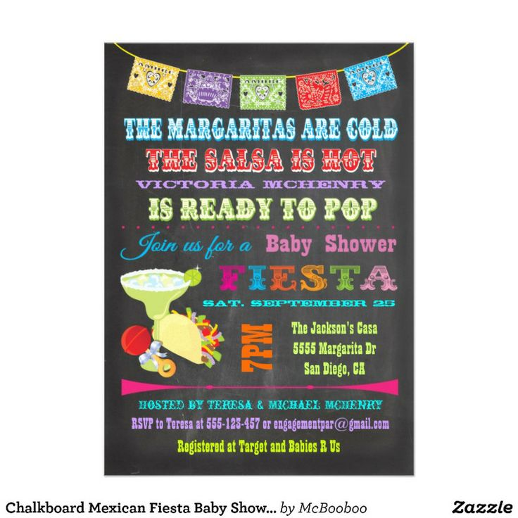 Chalkboard Mexican Fiesta Baby Shower invitations. So cute and colorful!