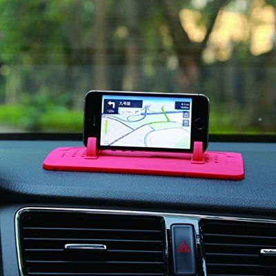 Car Mount Holder, Outtek New Silicone Pad Dash Mat Cell Phone Car Holder Cradle Dock for Samsung S7/S6, iPhone 4S/5/5S/6/6S All Different Size Phone and GPS, Table PC Holder (Red)