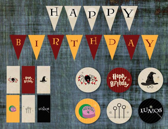 Harry Potter Birthday Party Supplies - Printable, Instant Download! Includes Banner, Cupcake Topper and Mini Candy Bar Wrappers  $9.99 USD  https://www.etsy.com/listing/266347251/harry-potter-birthday-party-supplies?ref=listings_manager_grid