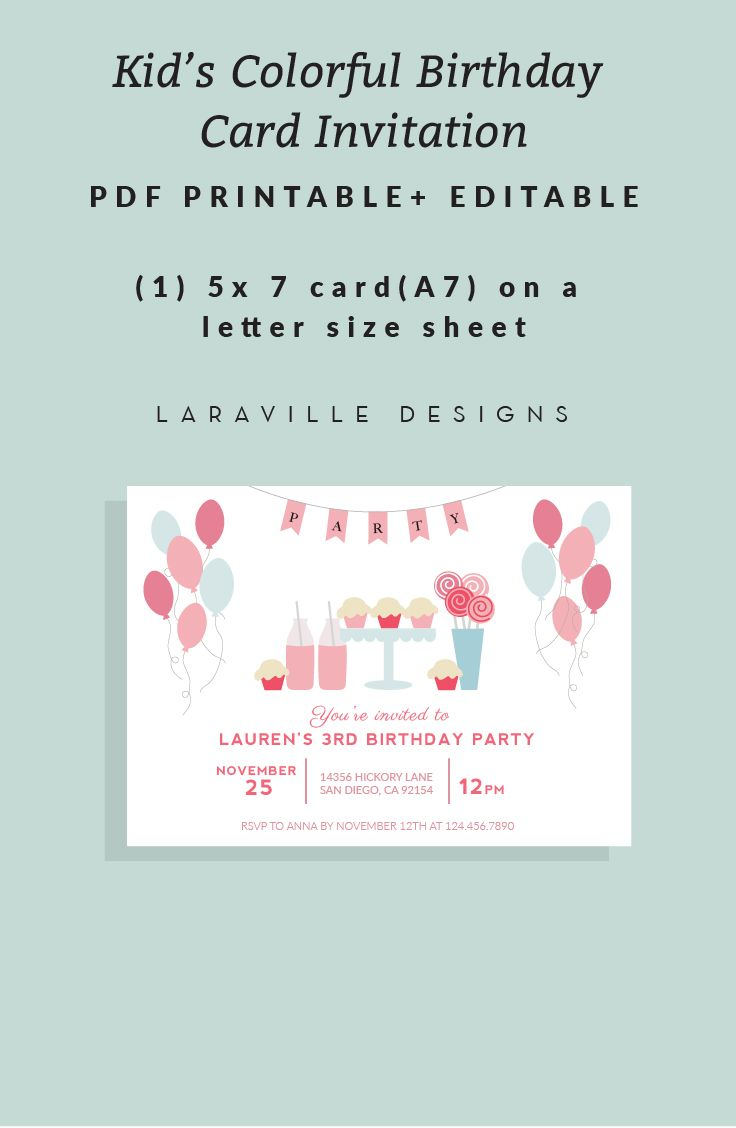 Printable Kid S Birthday Invite Balloons Printable