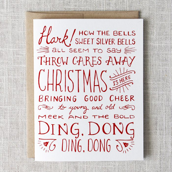 Carol of the Bells Card via Maple & Belmont