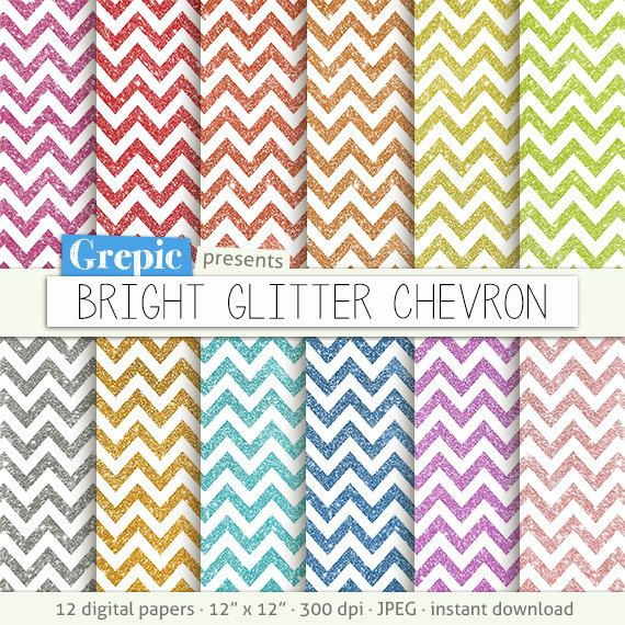 "Glitter chevron digital paper: ""BRIGHT GLITTER CHEVRON"" with rainbow, gold and silver glitter chevron digital papers, zigzag sparkles colors #clipart #bestofetsy"