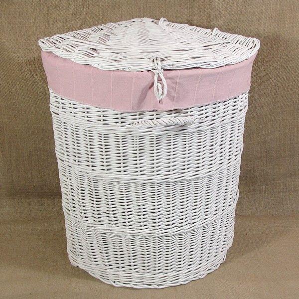 Biały wiklinowy kosz na bieliznę z materiałowym wkładem (różowy)