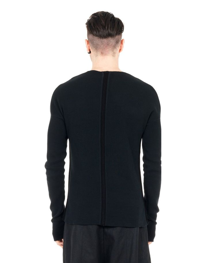 LOST&FOUND MAN Black slim fit sweater round neckline long sleeves 98% CO 2% WO