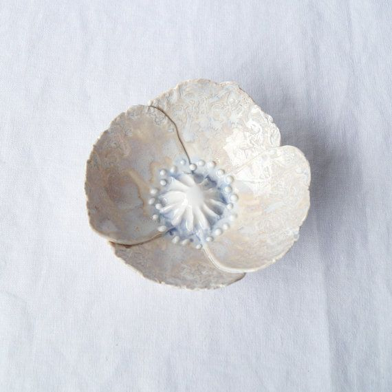 POPPY bowl white porcelain with lace textured petals, soft white and grey ceramic glazes.