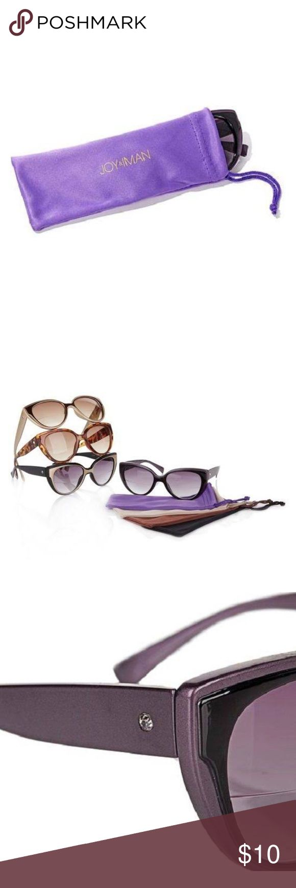 GOLDEN Bifocal Sunglasses Stylish Bifocal Sunglasses - perfect for reading a magazine on the beach or peruse a map in the car. Comes in a shimmery golden color with a dark golden orange silk case. The second picture shows the golden pair on the top. Perfect color for the fall season 🍂 joy and iman Accessories Glasses