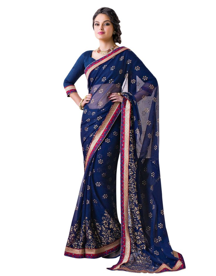 Blue Georgette with Zari Resham Embroidery and  Lace Border worked Saree