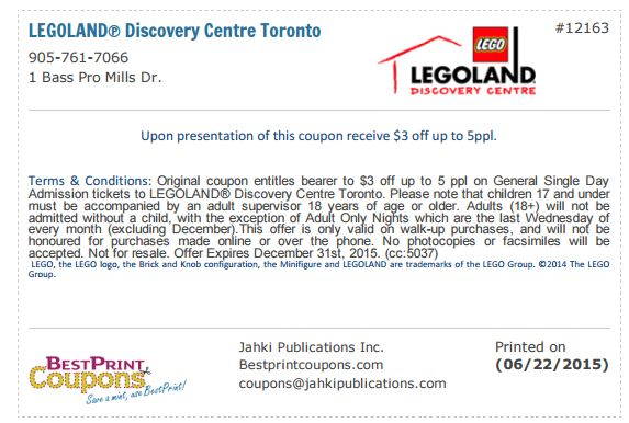 Legoland - Summer 2015 Coupon