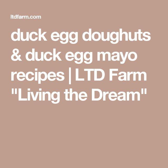 "duck egg doughuts & duck egg mayo recipes | LTD Farm             ""Living the Dream"""