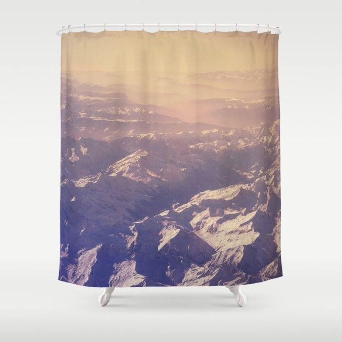 Purple shower curtain, mountain shower curtain, pink shower curtain, bathroom decor, =unique shower curtain, landscape, mountain decor, bath by SophieMakesFabrics on Etsy