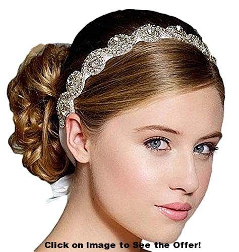 Femicuty Shiny and Luxury Diamond Hoop Bridal Wedding Yarn Hair Accessories