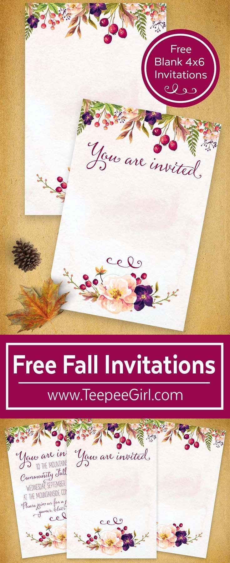 Fall Party Invitations, Free
