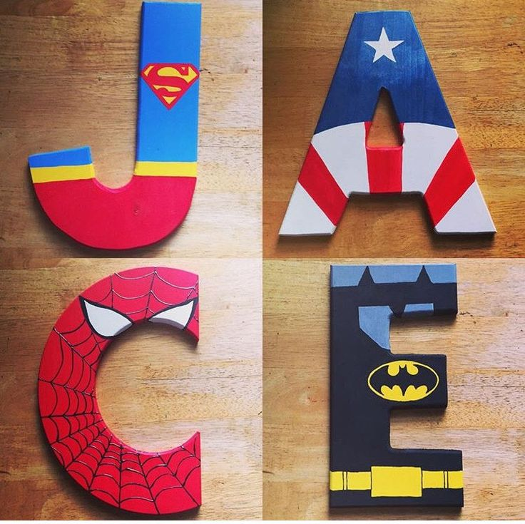 PERFECT for a child's (or man-child's) bedroom. Hand painted superhero letters for full names or initials.  https://www.etsy.com/listing/253738548/super-hero-themed-painted-wooden-letters