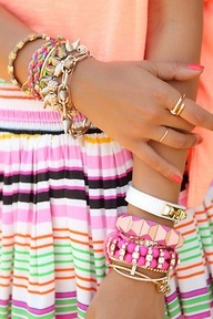 arm candy/party  Search stackable bracelets and find tons of other combinations