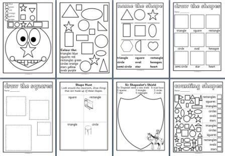 Free KS1 Maths Teaching Resources - 2D Shapes worksheets for foundation stage or KS1 classrooms