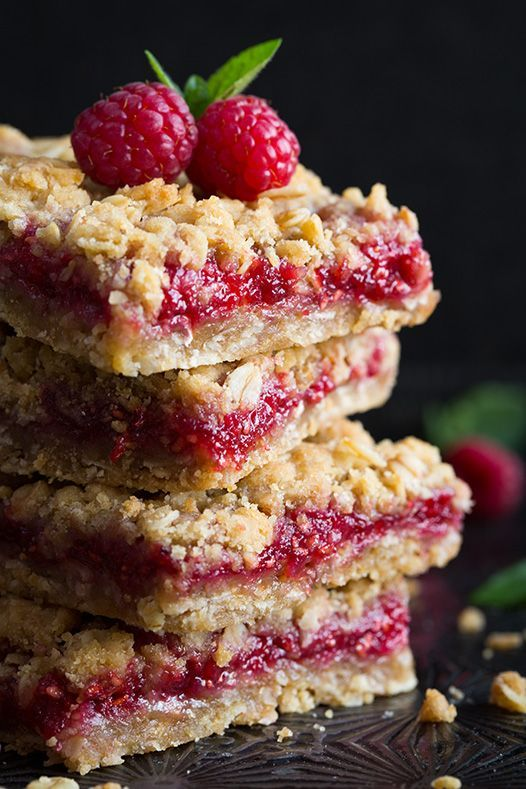 Raspberry Crumb Bars - these are incredibly good and unbelievably easy to make! Replace raspberry jam with any other flavor you'd like.