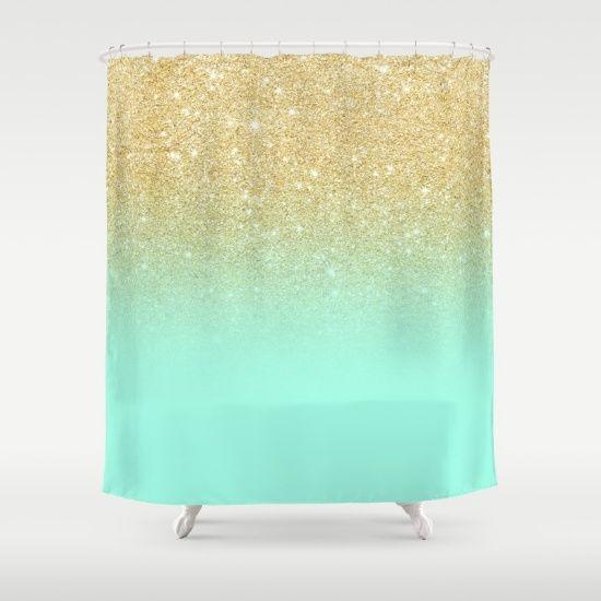 Modern Gold Ombre Mint Green Block Shower Curtain