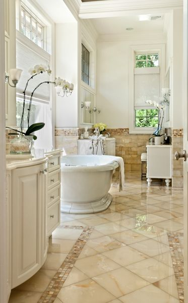 Bathroom design featuring Artistic Tile, now available at Douglah Designs. Shown is Bianco Onyx.