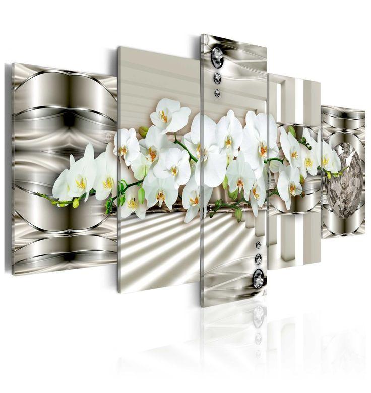 Obraz digitalny z motywem orchidei - połączenie romantycznego motywu kwiatów i nowoczesnego, srebrnego tła. Po prostu piękne!