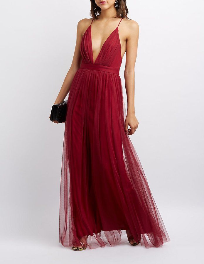 Pleated Mesh Tulle Gown. Burgundy Bridesmaid Dress ...