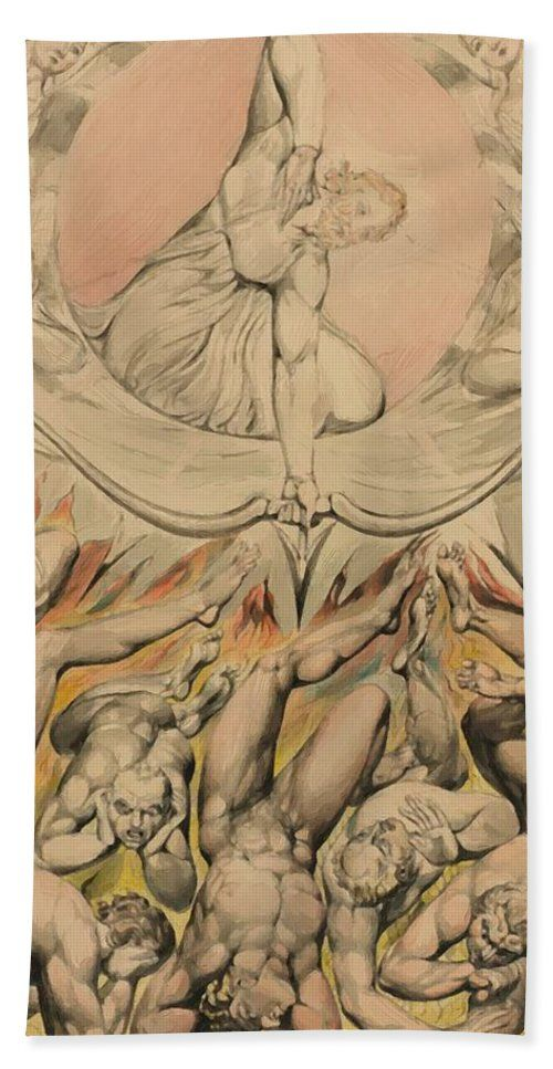 The Beach Towel featuring the painting The Casting Of The Rebel Angels Into Hell 1808 by Blake William