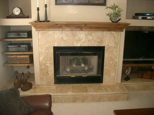 walnut travertine tile fireplace ideas click on the
