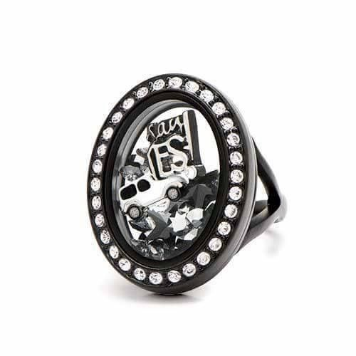 Origami Owl new black locket ring, just say Yes!! You know you want one! www.charmingsusie.origamiowl.com