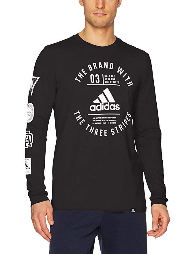 f2a35992920a adidas Men's Badge Of Sport Classic Long-Sleeve Tee, Black/White, Small