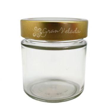 Tarro Cristal Vacío Modelo Julián, 200 ml. tapa rosca dorada