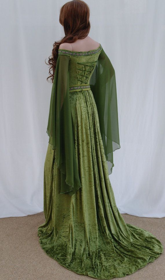 ELVEN DRESS, Celtic wedding dress,medieval dress, renaissance dress, forest, fairy dress, custom made