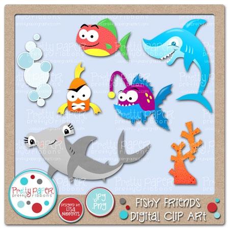 Fishy Friends Digital Clip Art