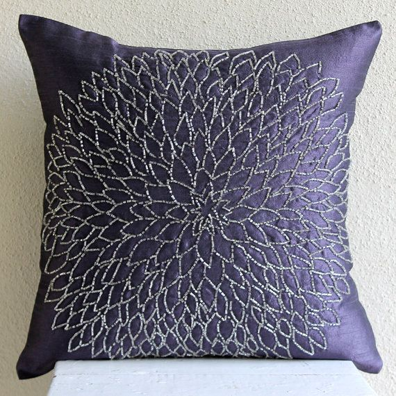 Throw Pillow Covers 20x20 Silk Bead Blue Embroidered Pillow Cover Decorative Couch Sofa Bed Pillow Cases Accent Pillows Silver Flower