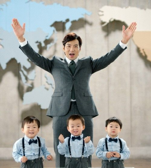 Song Il Kook with his triplets (Daehan, Minguk, Manse)