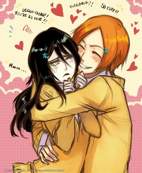 Gender bender and ship of Ulquiorra and Orihime from Bleach. it looks so weird